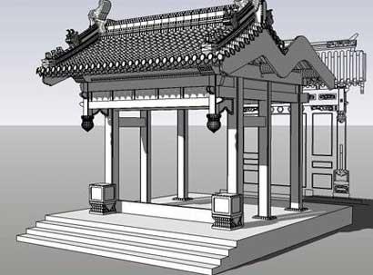 垂花门是古代汉族民居建筑院落内部的门,是四合院中一道很讲究的门,它是内宅与外宅(前院)的分界线和唯一通道。因其檐柱不落地,垂吊在屋檐下,称为垂柱,其下有一垂珠,通常彩绘为花瓣的形式,故被称为垂花门。  垂花门门上檐柱不落地,而是悬于中柱穿枋上,柱上刻有花瓣联(莲)叶等华丽的木雕,以仰面莲花和花簇头为多。因垂花门的位置在整座宅院的中轴线上,界分内外,建筑华丽,所以,垂花门是全宅中最为醒目的地方。垂花门整座建筑占天不占地,这是垂花门的特色之一,因此垂花门内有一很大的空间,从而也给家庭主妇与女亲友的话别提供了极