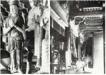 梁思成,林徽因在佛光寺大殿内进行实地测绘工作